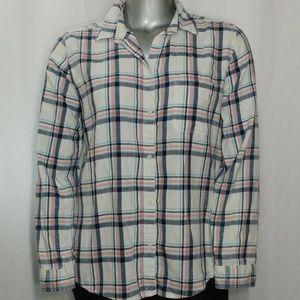 AEO Soft Cotton Flannel Boyfriend Plaid Shirt XL